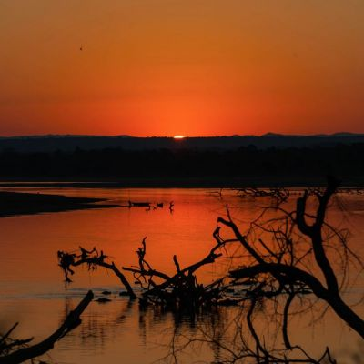 <strong>Zonsondergang in het South Luangwa National Park Zambia</strong>