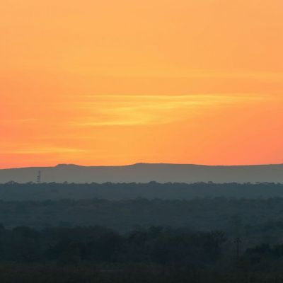 <strong>Een oranje avondlucht  in het South Luangwa National Park Zambia</strong>